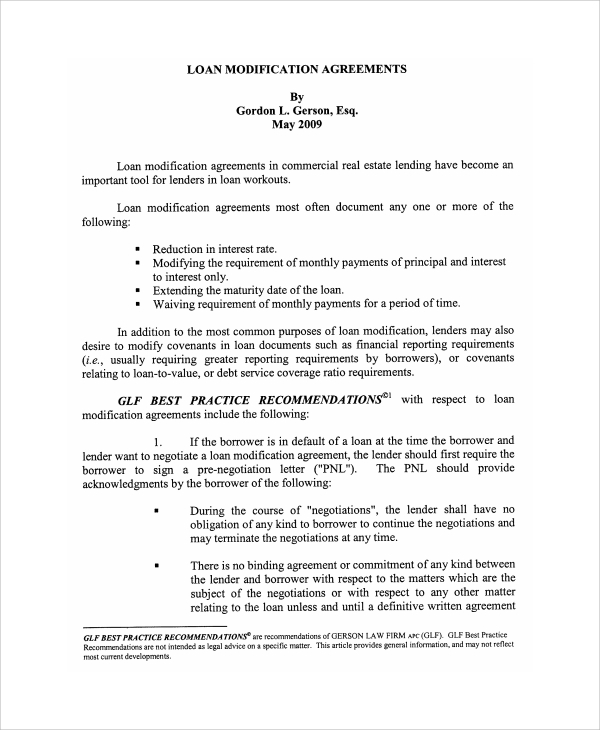 Commercial Loan Modification Agreement Form