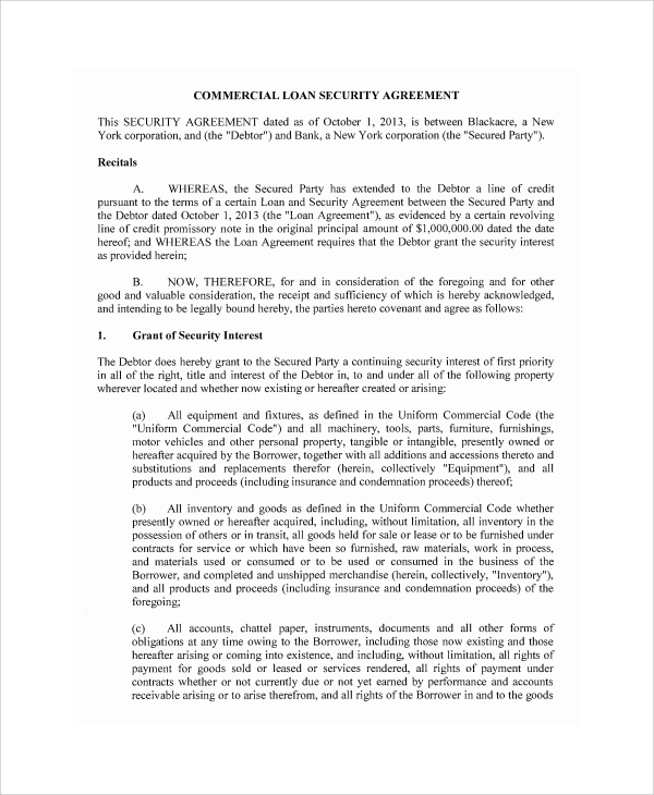 Sample Commercial Loan Agreement 8 Documents in PDF – Security Agreement Template