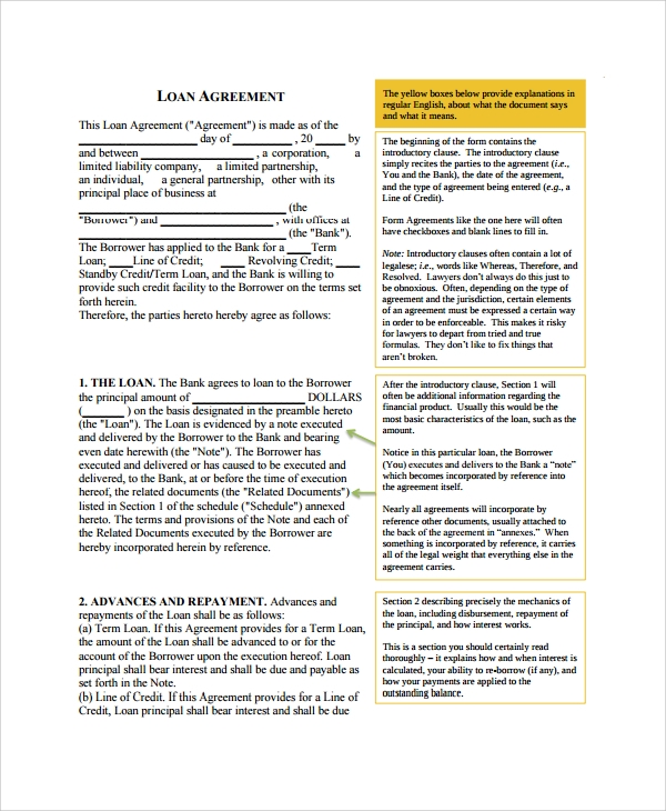 Sample Commercial Loan Agreement   Documents In Pdf