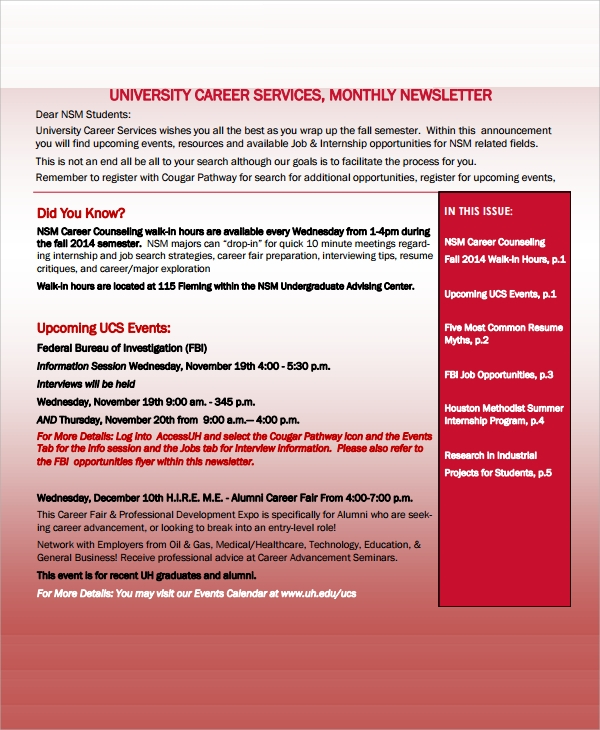 university monthly newsletter