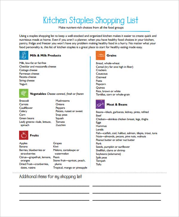 kitchen grocery list