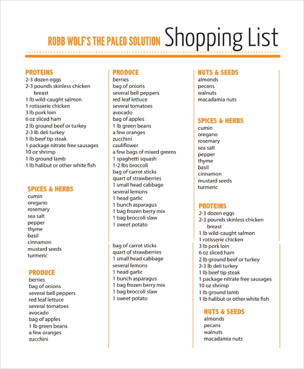Sample Grocery List - 20+ Documents in PDF