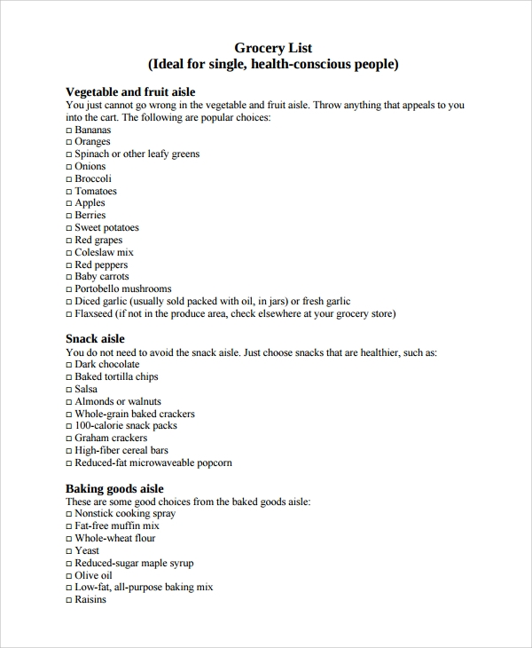 Sample Grocery List   Documents In Pdf