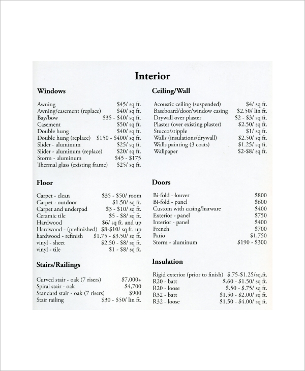 Sample Remodeling Estimate - 8+ Documents In Word, Pdf
