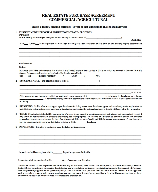 Sample Commercial Purchase Agreement   Documents In Pdf