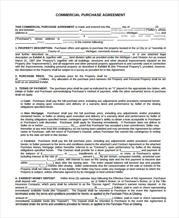 Sample Commercial Purchase Agreement 7 Documents in PDF – Commercial Purchase Agreement