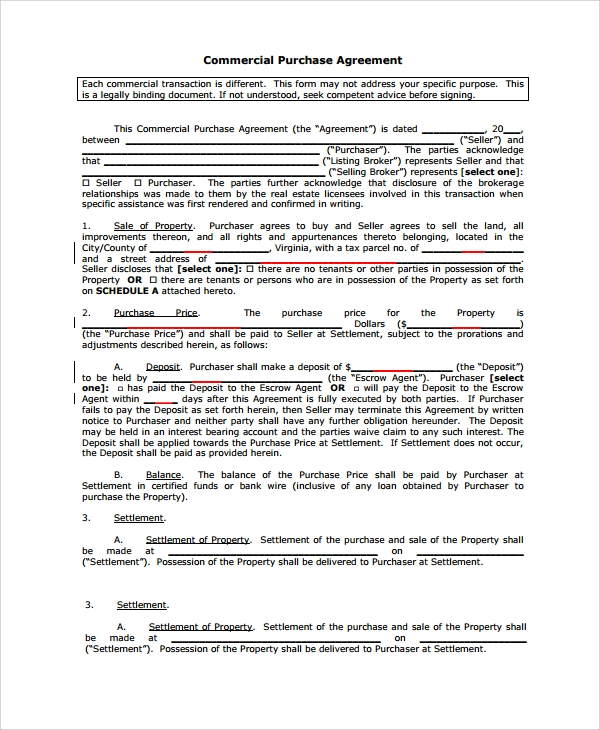 Sample Commercial Purchase Agreement - 7+ Documents In Pdf