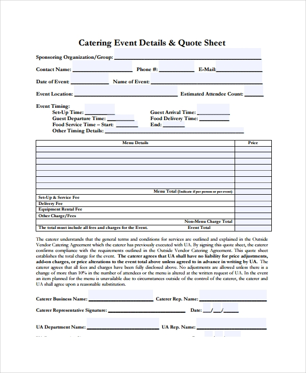 Sample Catering Quote   Documents In Pdf Word