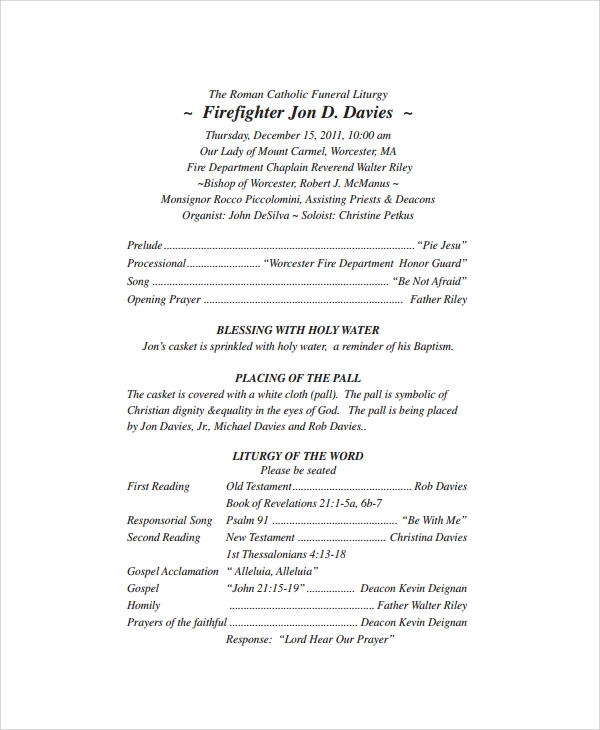 roman catholic funeral program template