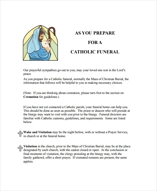 basic catholic funeral program preparation