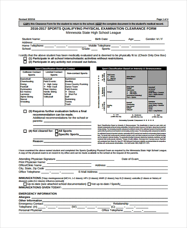 Sample Physical Exam Form   Documents In Pdf