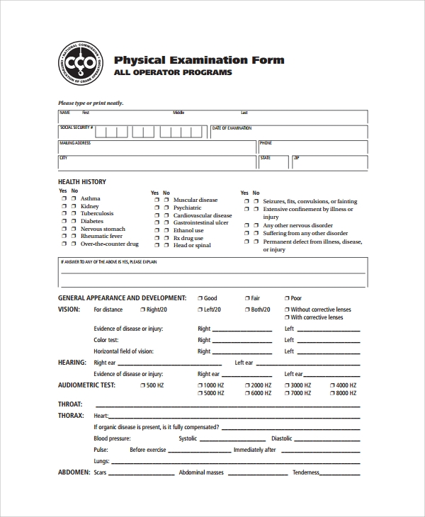 Sample Physical Exam Form - 8+ Documents in PDF