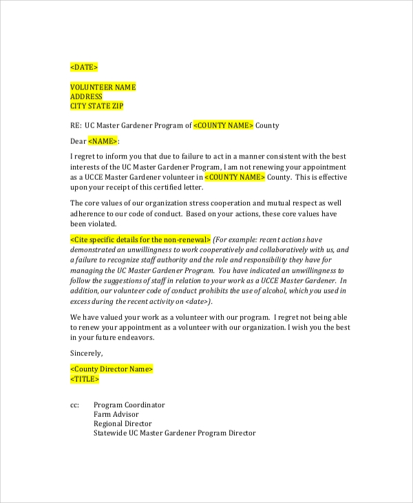 Student Employee Termination Letter  Sample Employee Termination Letter