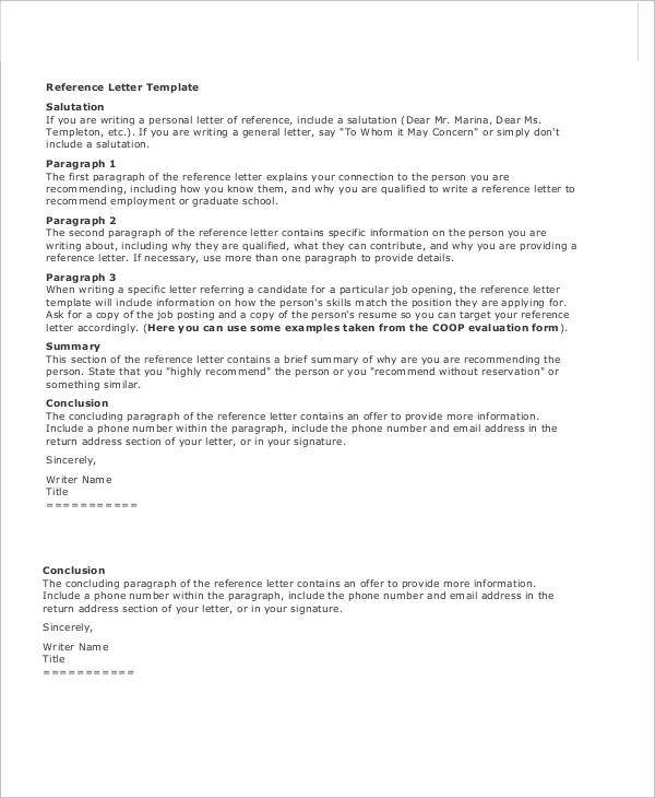 professional employment reference letter