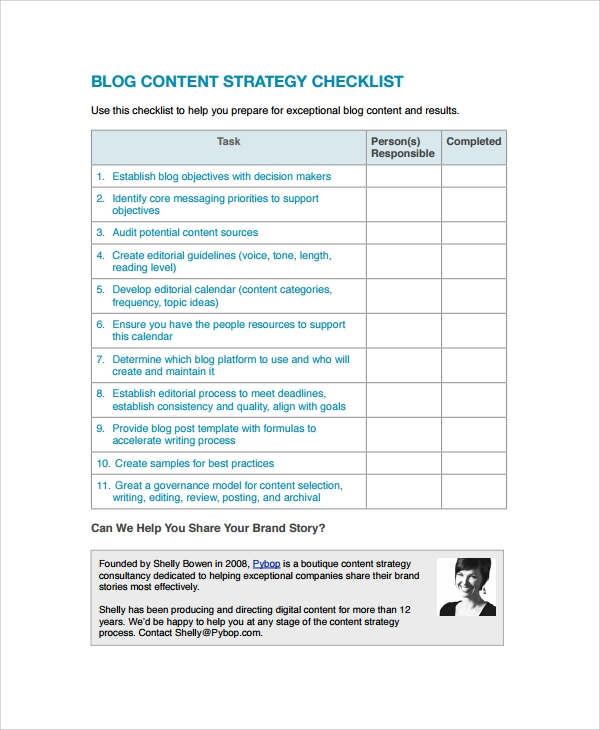 blog content strategy checklist