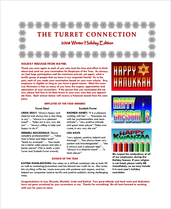 Sample Holiday Newsletter   Documents In Pdf