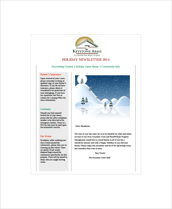 sample holiday newsletter template
