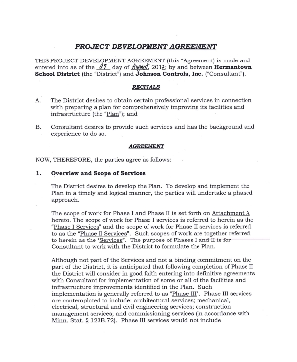 sample project development agreement