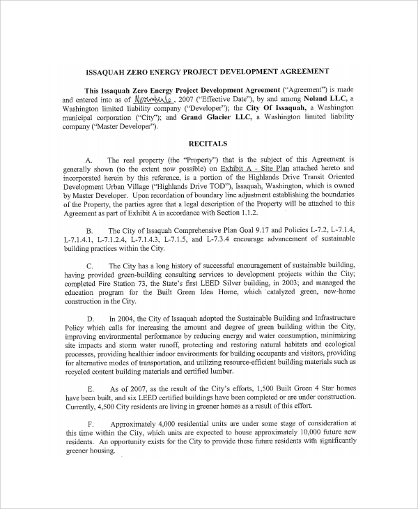 Sample Project Development Agreement   Documents In Pdf
