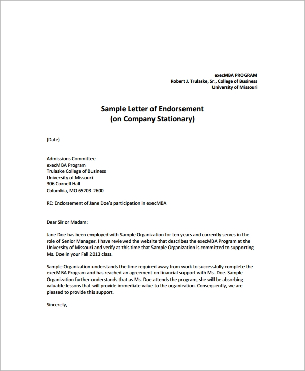sample endorsement letter 9 documents in pdf