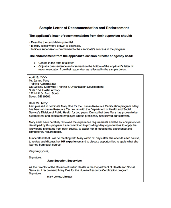 Sample Endorsement Letter   Documents In Pdf