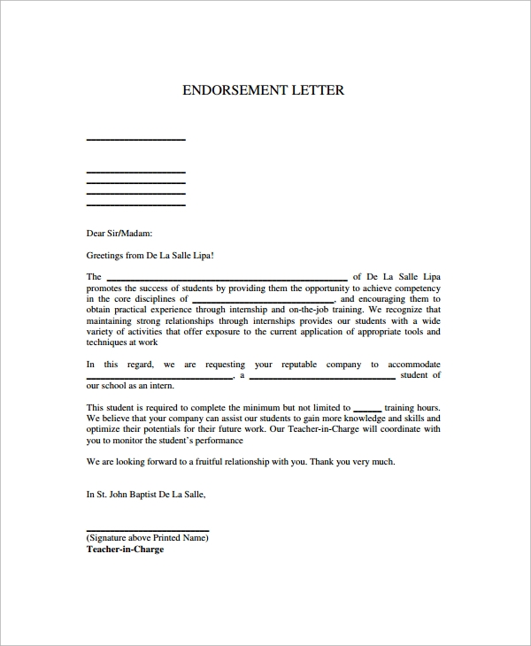 endorsement letters