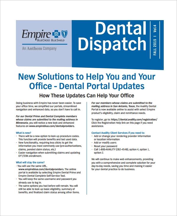 dental office newsletter template