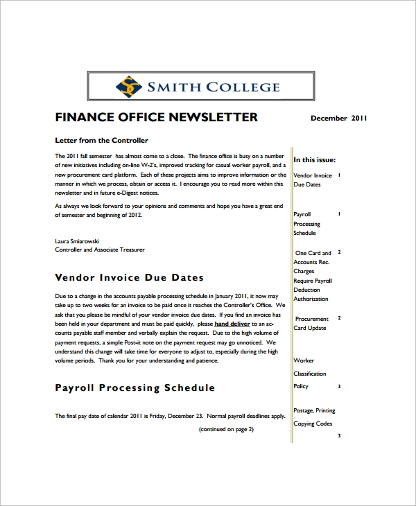 finance office newsletter template