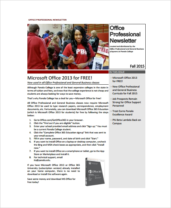 Sample Office Newsletter   Documents In Pdf