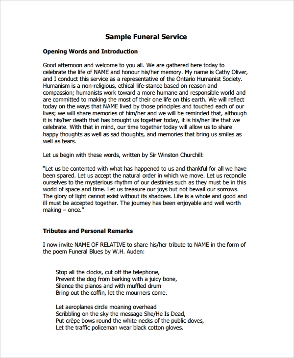 sample funeral service template