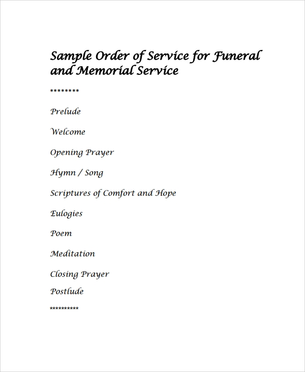 sample order of service for funeral