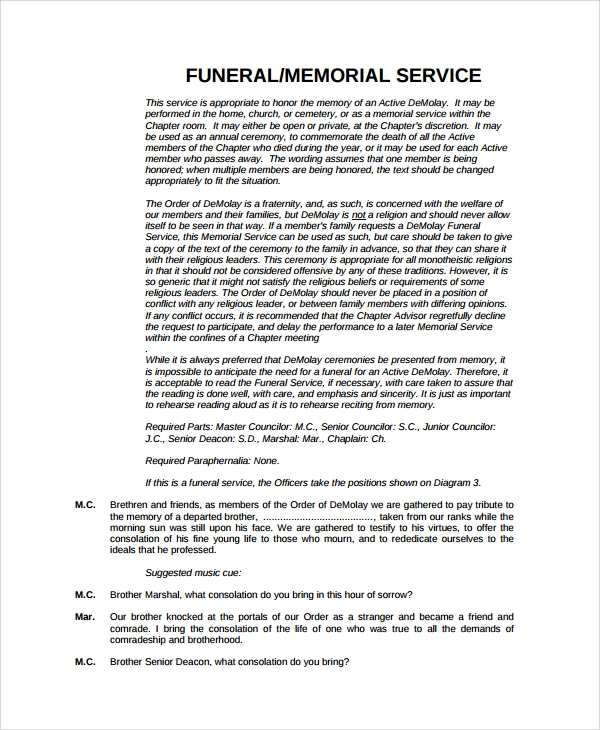 basic funeral or memorial service