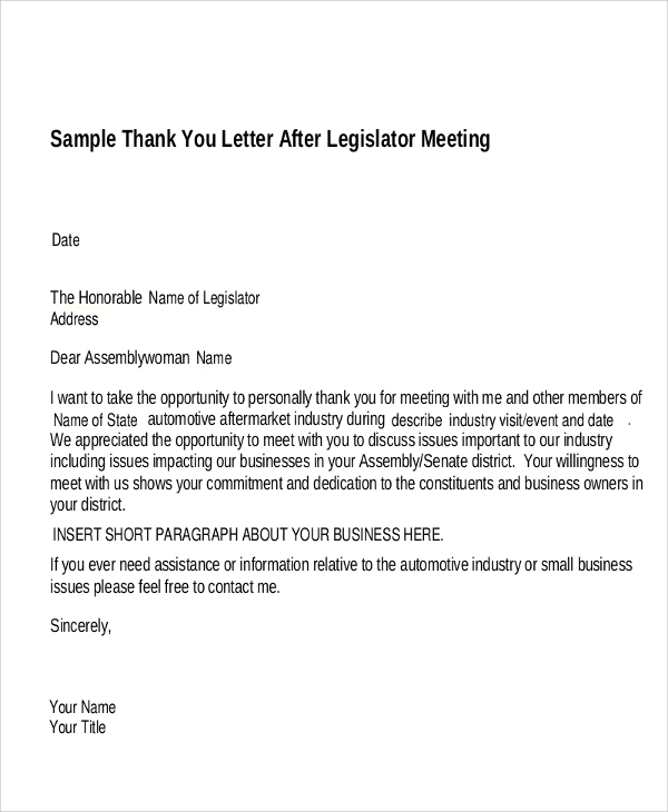 Business Meeting Thank You Letter