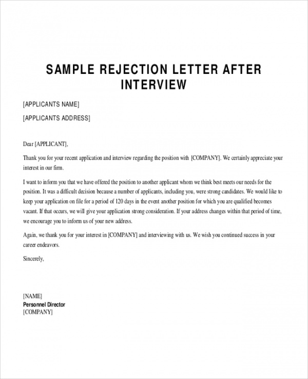 Job Application Rejection Letter Sample