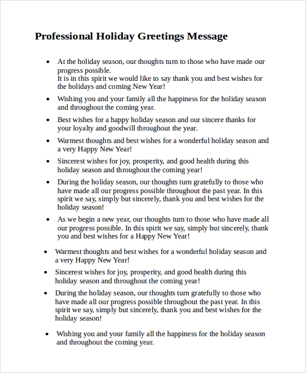 Sample Holiday Greeting Message   Documents In Pdf Word