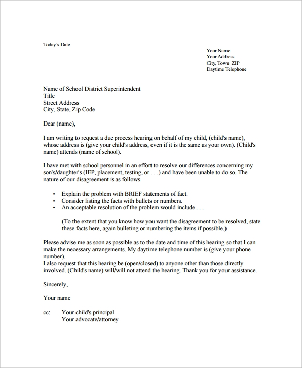 disagreement formal letter