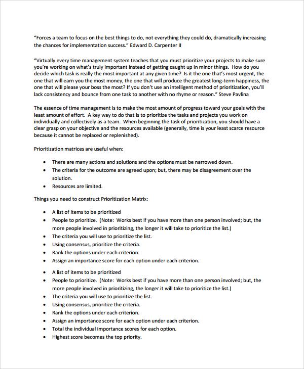 annual project prioritization template