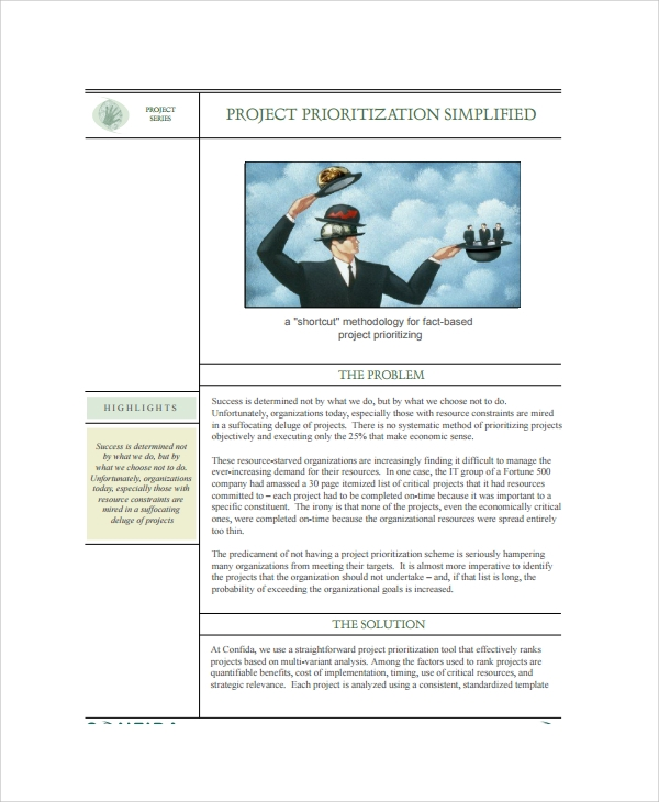 simplified project prioritization template