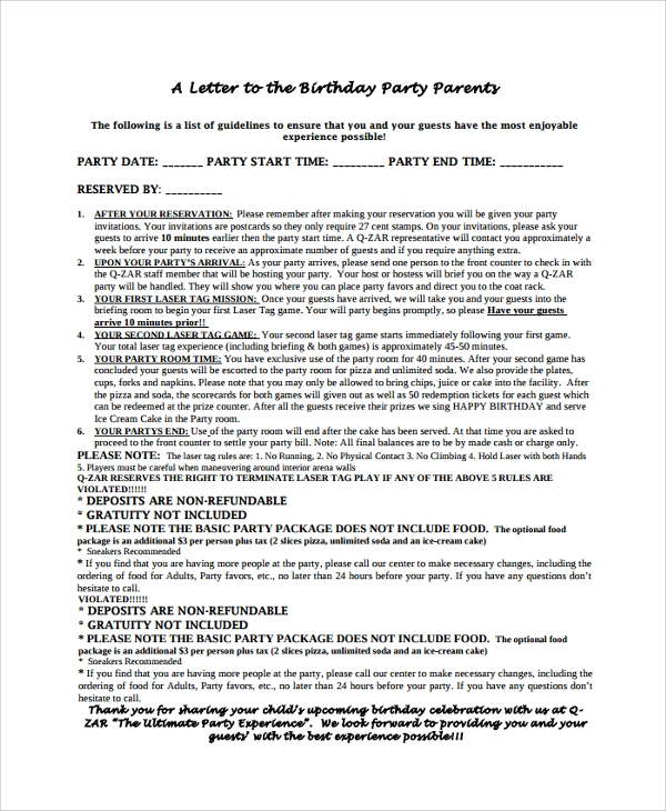 birthday celebration letter