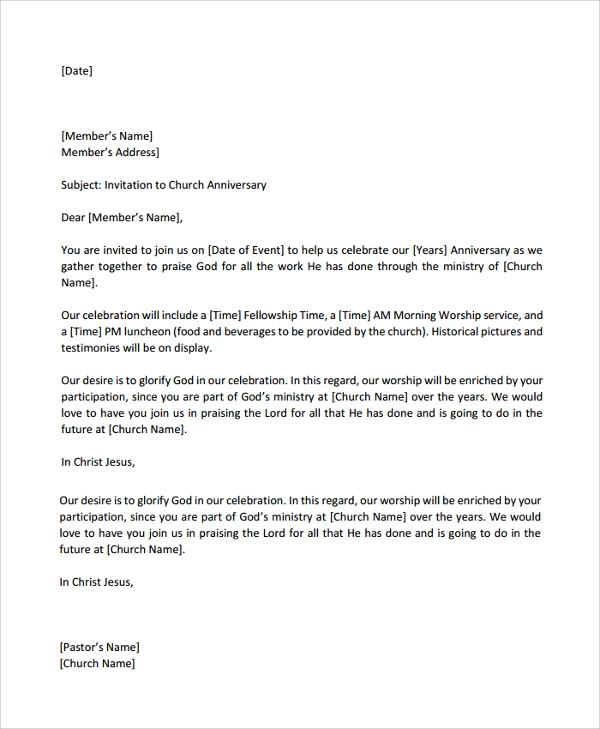 Celebration Letter | Sample Celebration Letter 9 Documents In Pdf Word