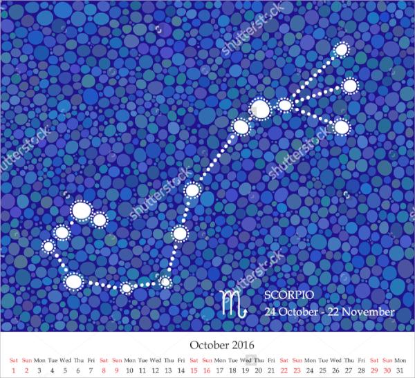 hand drawn zodiac calendar