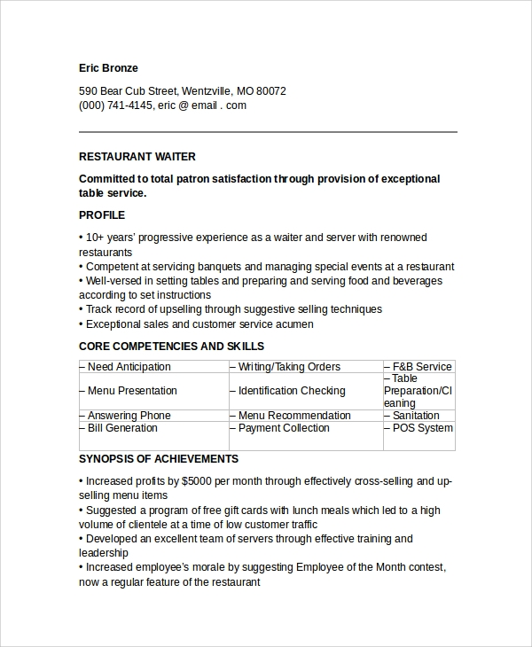 free 6  sample waiter resume templates in pdf