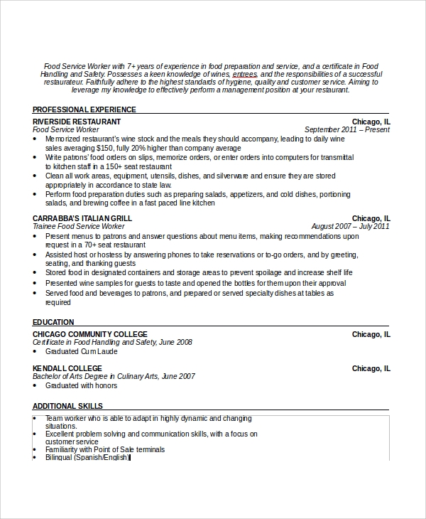 Sample Waiter Resume 6 Documents in PDF Word