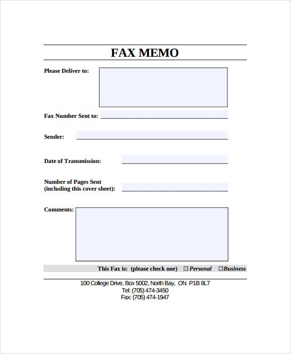fax memo template