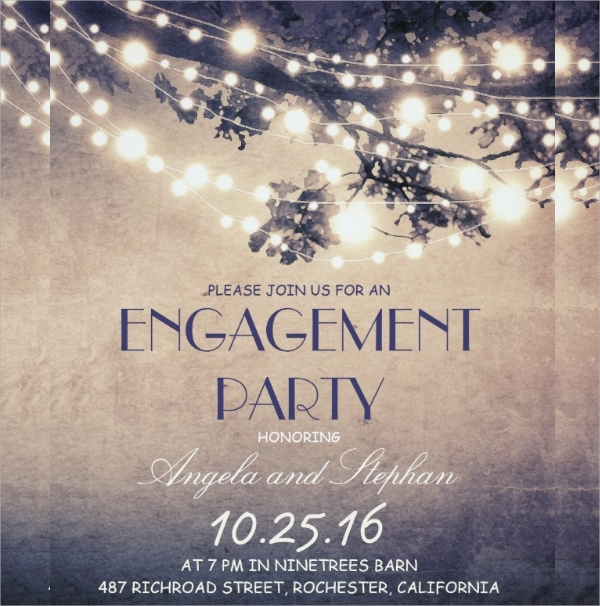 string lights engagement party invitation