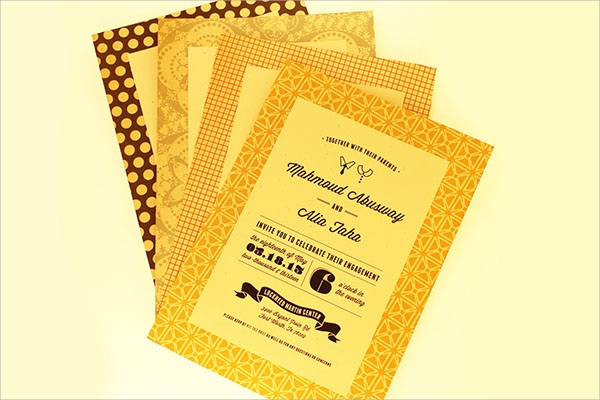 yellow colored engagement invitation template