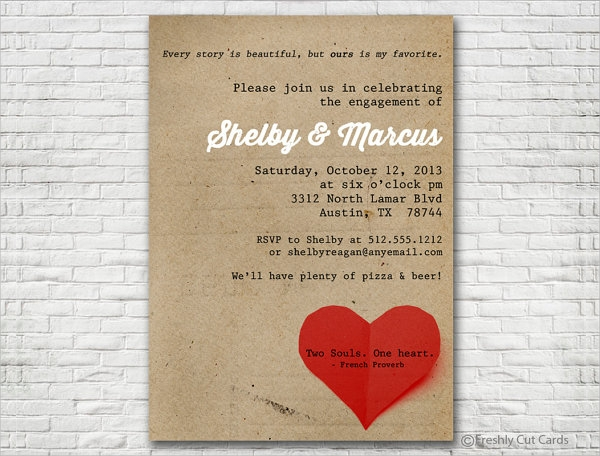 simple and sweet engagement invitation
