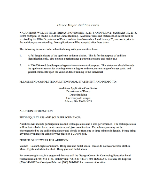 Sample Audition Form   Documents In Pdf Word