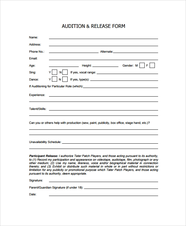 audition release form