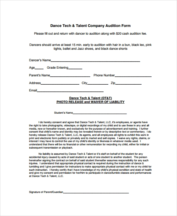 company audition form